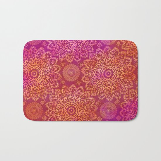 Mandala Watercolor Pattern pink orange Bath Mat