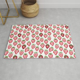 Watercolor Strawberries on White Rug