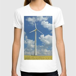 Wind Turbine Windmill in the Landscape with Yellow Colza Field and Blue Sky T-shirt