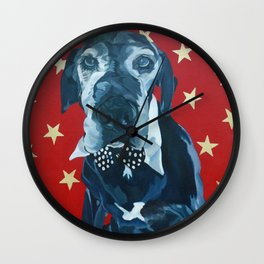 Starry Leonard the Black Lab Dog Portrait Wall Clock