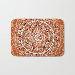 Detailed Burnt Orange Mandala Bath Mat