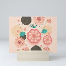 Floral Ornament, Flying Peacock Spring Peach Garden, Decorative Pink Flowers, blossom sakuras BOHO Mini Art Print