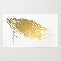 gold foil Area & Throw Rugs featuring Gold Foil Owl  by RsDesigns