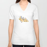 spaceship V-neck T-shirts featuring SPACESHIP by Sharon Sordo