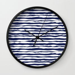 Navy Blue Stripes Wall Clock