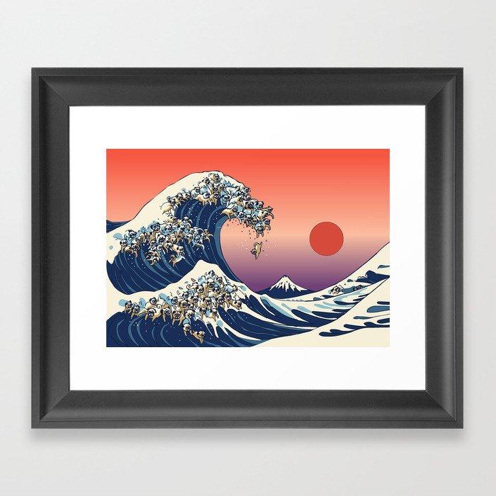 The Great Wave of Pug Gerahmter Kunstdruck