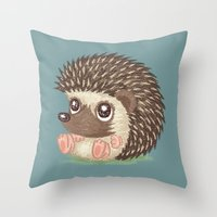 hedgehog Throw Pillows featuring Hedgehog by Toru Sanogawa