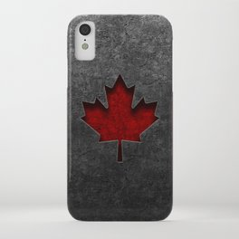 Canadian Flag Stone Texture iPhone Case