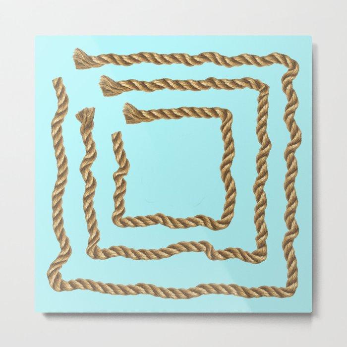 Beach Series Aqua -Maritime Nautical Rope Knot on #Society6 Metal Print