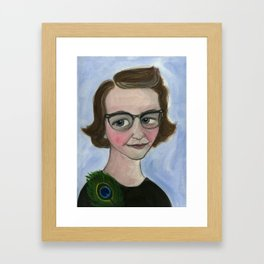 "Flannery O'Connor Art Print, Literary Portrait (6x8) ""A Good Flannery is Hard to Find"" Framed Art Print"