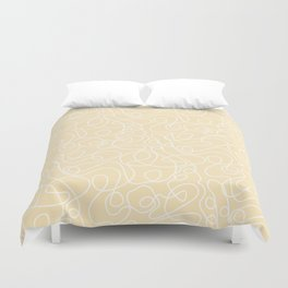 Doodle Line Art | White Lines on Soft Yellow Duvet Cover