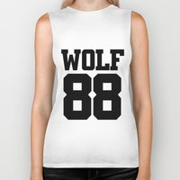 exo Biker Tanks featuring EXO WOLF 88 by Cathy Tan