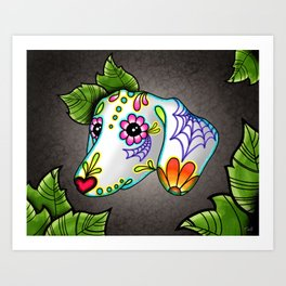 Dachshund - Day of the Dead Sugar Skull Wiener Dog Art Print