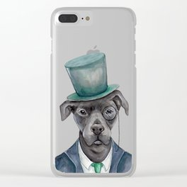 D is for a Dapper Dog   Watercolor Dog Clear iPhone Case