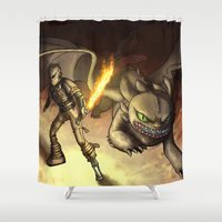 hiccup Shower Curtains featuring httyd2: To Battle by Eva Gudmunds