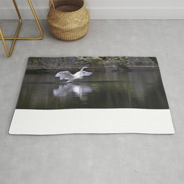 Welcome Spring White Swan On A Dark Nature Background #decor #society6 #buyart Rug
