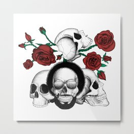 Grunge skulls and red roses (afro skull included. Color version) Metal Print