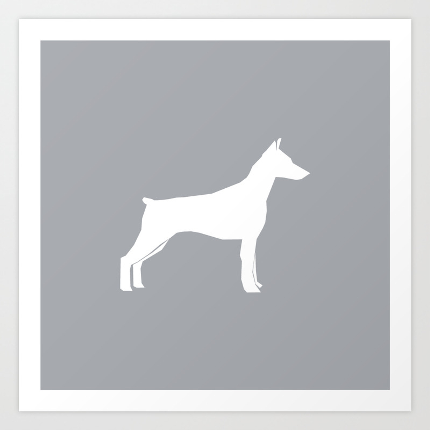 Doberman Pinscher Dog Pattern Grey And White Minimal Dog Breed Silhouette Dog Lover Gifts Art Print By Petsilhouettes Society6