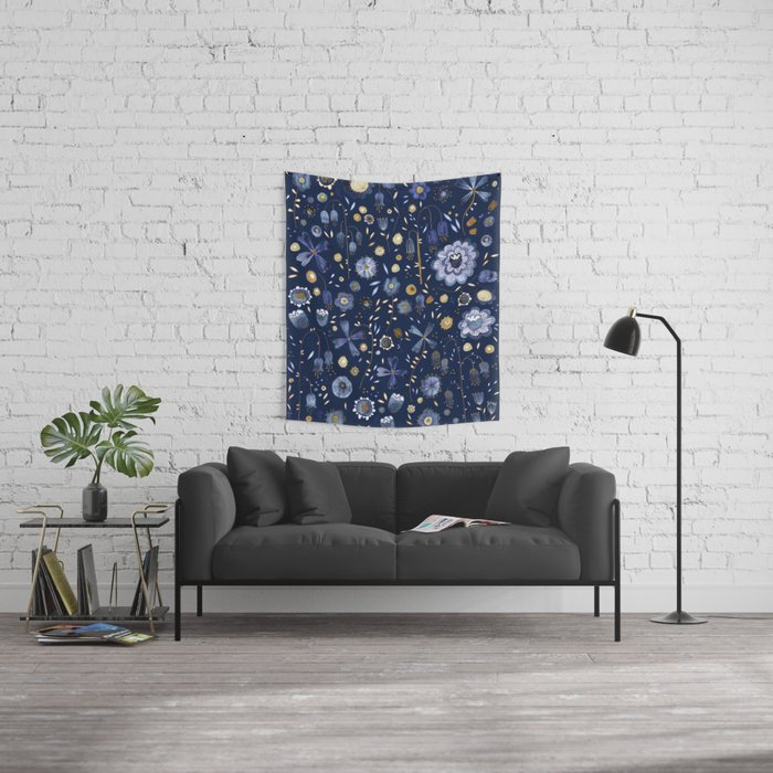 Indigo Flowers at Midnight Wall Tapestry