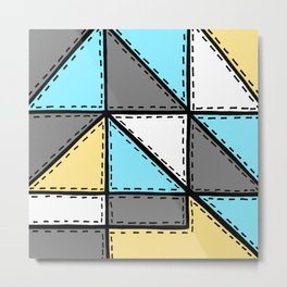 Marker Patchwork – Triangles and Rectangles – Gray Blue Yellow Metal Print