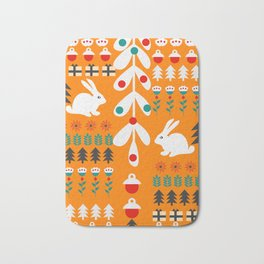 Sweet Christmas bunnies Bath Mat