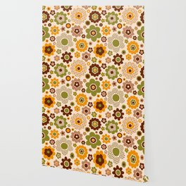 Retro 70s funky flowers brown, orange, green Wallpaper