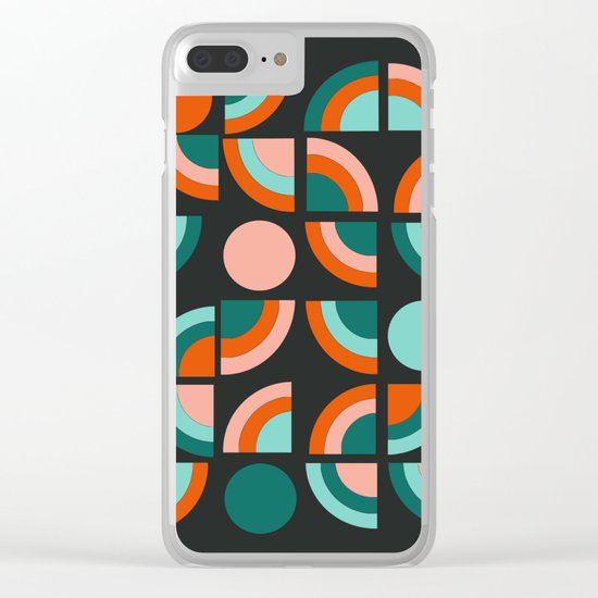 Spiffy - 70's retro throwback minimal geometric trendy colors art 1970s Clear iPhone Case