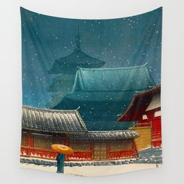 Vintage Japanese Woodblock Print Japanese Red Shinto Shrine Pagoda Winter Snow Wall Tapestry