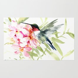 Hummingbird and Plumerias Rug
