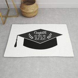 Congrats Class of 2020 hand written on graduation hat. Congratulations to graduates Rug