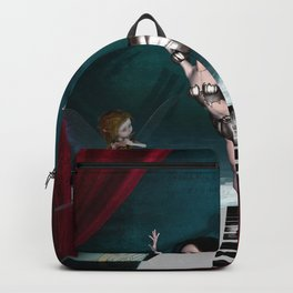 Cute fairy dancing on a piano on the beach Backpack