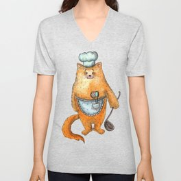 cook cat Unisex V-Neck
