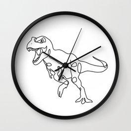 Raging T-Rex Dinosaur Line Art Drawing, Hungry Tyrannosaurus Rex Single Line Illustration Wall Clock