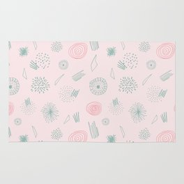 Contemporary  Abstract Pattern Art on Pink-Mix & Match with Simplicity of life Rug