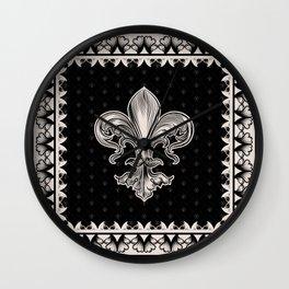 Fleur-de-lis - Black and Cream Wall Clock