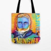 hemingway Tote Bags featuring HEMINGWAY by sandra de bedout