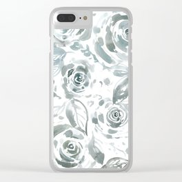 Evelyn Gray Floral Clear iPhone Case