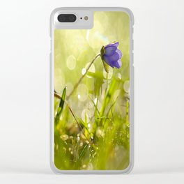 Beautiful spring - first flower little anemone with beautiful bokeh in green background Clear iPhone Case