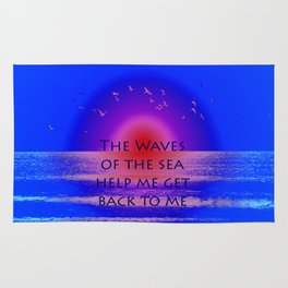 Waves of the Sea Quotation on Pink Horizon Rug