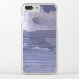 Slate gray stained watercolor Clear iPhone Case