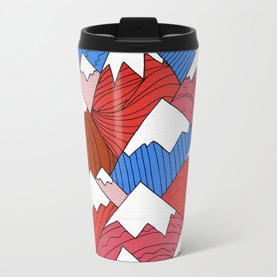 The Red Mountains (Pattern) Metal Travel Mug