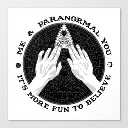 Me & Paranormal You - James Roper Design - Ouija B&W (black lettering) Canvas Print