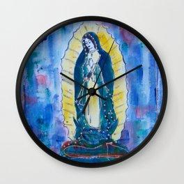 Virgen de guadalupe in blue Wall Clock