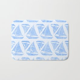 Blue Sailing Boats Water Pattern Bath Mat