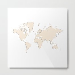 World with no Borders - ivory Metal Print