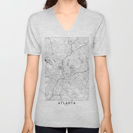 Atlanta White Map Unisex V-Neck