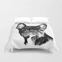 bulldog Duvet Covers featuring French Bulldog by James Peart