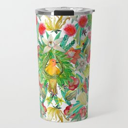 Exotic watercolor floral with tropical fruits and flowers Travel Mug
