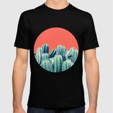 Cactus on Coral #society6 #decor #buyart Black Mens Fitted Tee 2X-LARGE