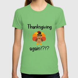 Thanksgiving again? Asks a poor turkey with a scared face. T-shirt